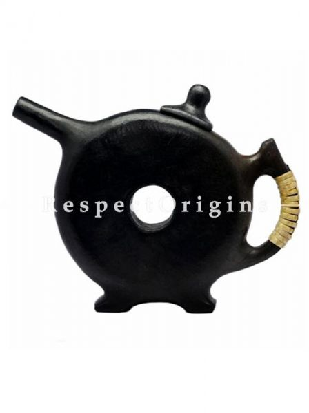 Buy Royal Wheel Ring Clay Tea Kettle; Handcrafted Longpi Manipuri Black Pottery; Round; Dia - 9 in; Chemical Free At RespectOrigins.com
