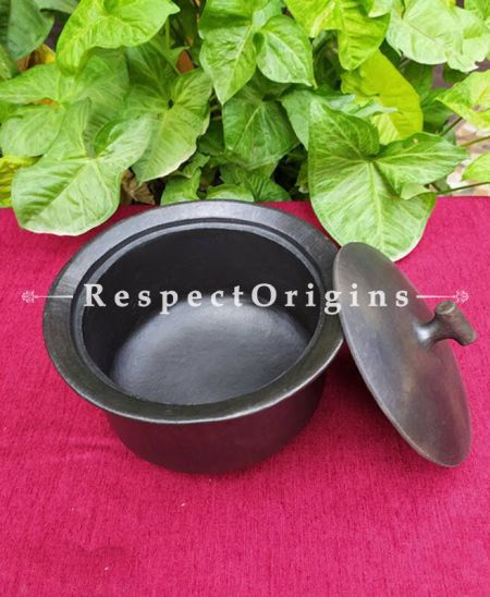 Buy Promoting Healthy Cooking Earthenware Pot with Lid in Longpi Manipuri Black Pottery; Chemical Free; Clay At RespectOrigins.com