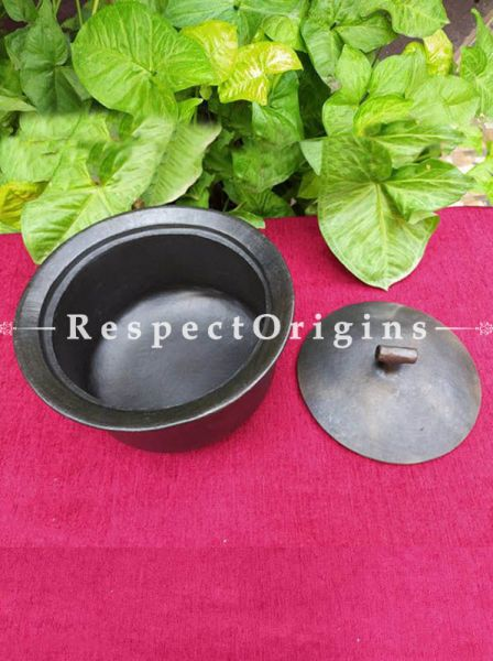 Buy Set of 2 Earthenware Cooking Pots in 2-3 L.Handcrafted Longpi Manipuri Black Pottery; Chemical Free; Clay At RespectOrigins.com