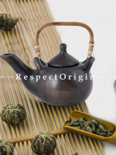 Buy Clay Tea Kettle With Rattan Cane Handle; Handcrafted Longpi Manipuri Black Pottery; 5x4 in; Chemical Free At RespectOrigins.com