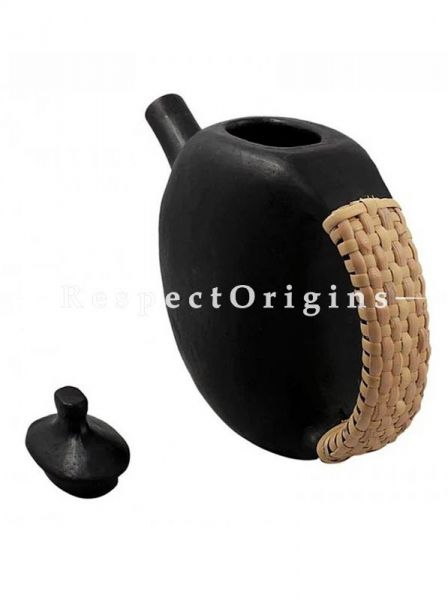 Buy Wine Clay Kettle; Longpi Manipuri Black Pottery; 6.5x9 in; Chemical Free; Round At RespectOrigins.com