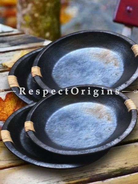 Set of 4 Round Longpi Black Pottery Saucer or Side Plates; 4 Inches Dia.; Handcrafted and Chemical Free; RespectOrigins.com