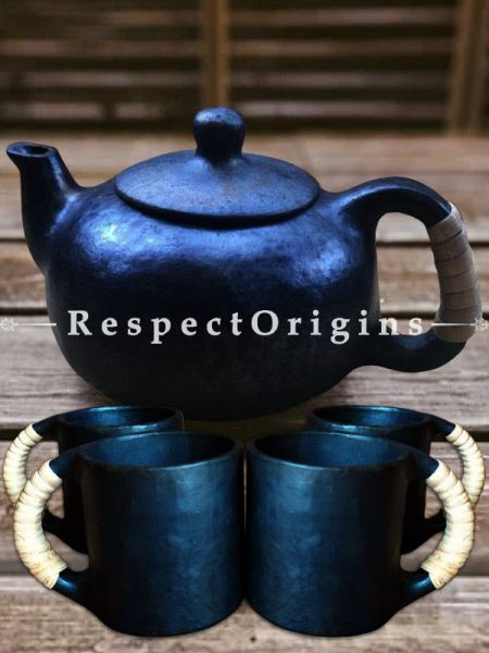 Exquisite Set of 4 Clay Coffee Mugs and a Kettle; Handcrafted Earthenware Longpi Manipuri Black Pottery Tea Set; 3.2 x 8 In.; RespectOrigins.com