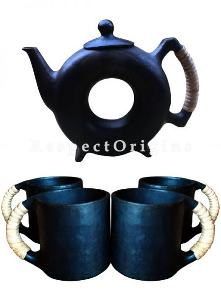 Set of 4 Clay Coffee Mugs and a Kettle; Handcrafted Earthenware Longpi Manipuri Black Pottery Tea Set; 9 In.; RespectOrigins.com