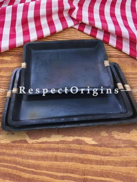 Set of 3 Rectangular Longpi Black Pottery Serving Tray Set; Chemical Free; Large -10 x 8 x 1.5 In. Medium - 8 x 6.7 x 1.5 In. Small - 6.5 x 6 x 1.5 In.; RespectOrigins.com