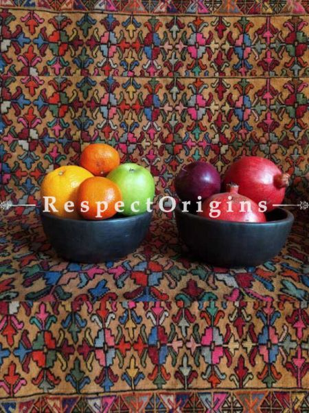 Buy Set of 2 Fruit or Soup Bowl; Clay; Round; Handcrafted Earthenware Longpi Manipuri Black Pottery At RespectOrigins.com