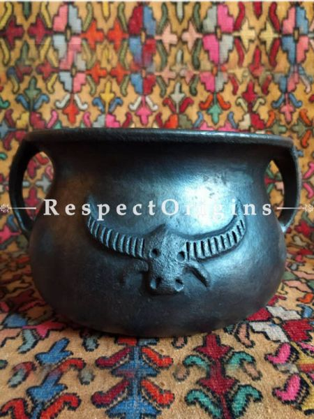 Buy Healthy organic Large Clay Round Cooking Pot in Earthenware Longpi Manipuri Black Pottery; Chemical Free At RespectOrigins.com