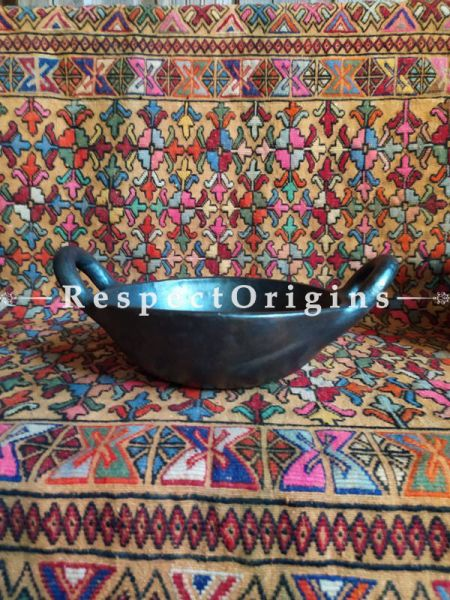 Buy Exotic Longpi Black Pottery Clay Pan or Kadai With Handles; Round; Handcrafted and Chemical Free At RespectOrigins.com
