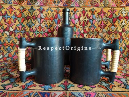 Buy Beer Mug Set of 4 with Bottle; Clay; Handcrafted Earthenware Longpi Manipuri Black Pottery; 750ml; Chemical Free At RespectOrigins.com