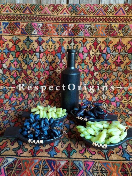 Buy Clay Snacks Bowl Set of 4 and a Bottle; Handcrafted Earthenware Longpi Manipuri Black Pottery; 7x3.5 in; Chemical Free At RespectOrigins.com