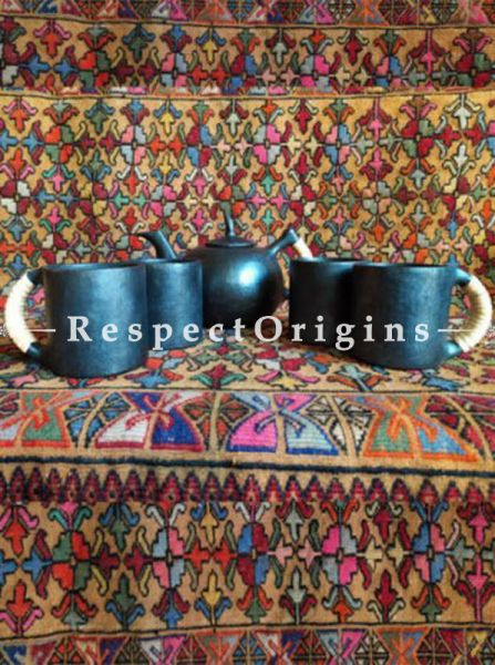Buy Exquisite Set of 4 Clay Coffee Mugs and a Kettle; Handcrafted Earthenware Longpi Manipuri Black Pottery Tea Set At RespectOrigins.com