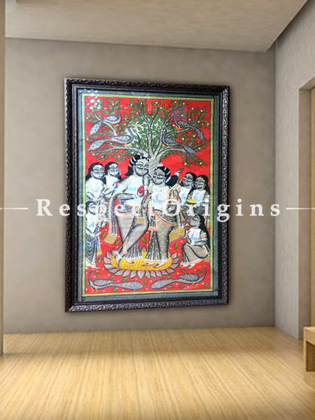 Blessed Union; The Wedding in Kalighat Painting indian Folk Art in 23x43 in; Traditional Painting On Paper Using Natural Colour