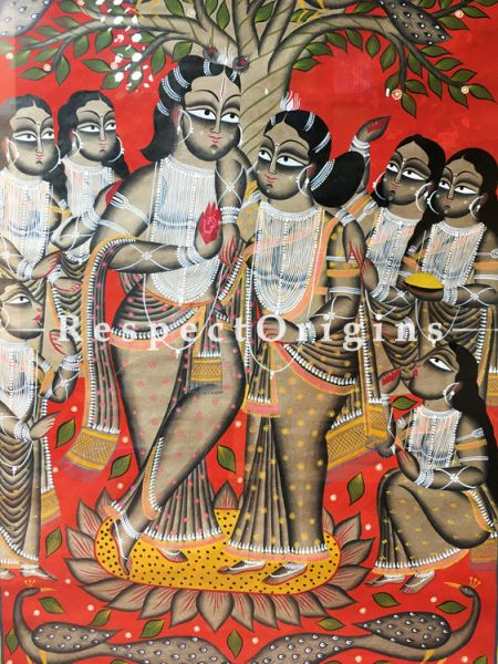 Blessed Union; The Wedding in Kalighat indian Art Traditional Painting On Paper; 23 x 43 inches;RespectOrigins