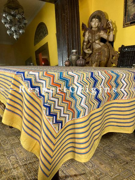 Tuscan Notes bring this Handcrafted Block-printed Tablecloth to life! Al Fresco Summer or Sunny Winters beckon.; RespectOrigins.com