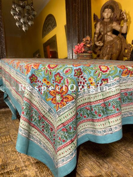 Le Provence Collection! Oranges n Blues. HandBlock-printed Floral Cotton Tablecloth for Al Fresco or Indoor Dining.; RespectOrigins.com