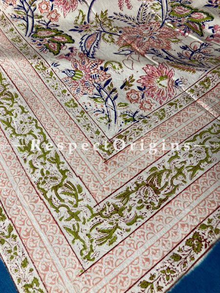 Le Provence Collection! Elegant  Hand Block-printed Floral Cotton Tablecloth for Al Fresco or Indoor Dining.; RespectOrigins.com