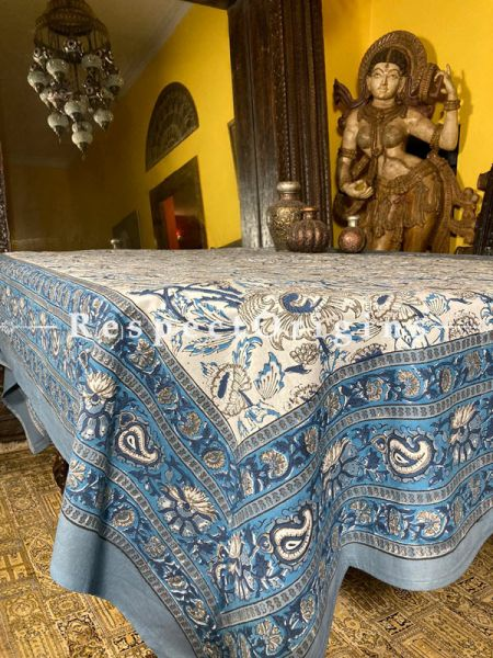 Florentine Blue on White. Le Provence Collection! HandBlock-printed Floral Cotton Tablecloth for Al Fresco or Indoor Dining.; RespectOrigins.com