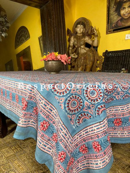 Le Provence Collection! Hand Block-printed Floral Cotton Tablecloth for Al Fresco or Indoor Dining.; RespectOrigins.com