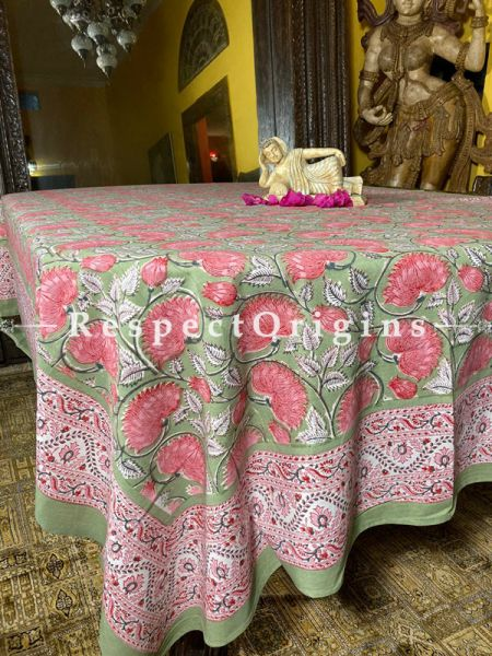 Le Provence Collection! HandBlock-printed Floral Cotton Tablecloth for Al Fresco or Indoor Dining in pastel green and pink.; RespectOrigins.com