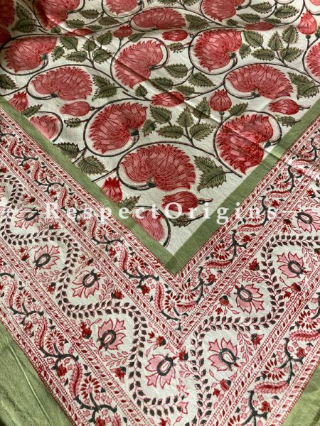Le Provence Collection! Floral Blooms on Vines in Block-printed Floral Cotton Tablecloth for Al Fresco or Indoor Dining.; RespectOrigins.com