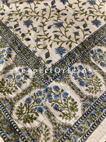 Le Provence Collection! Classic Blue, Greens on White Hand-printed Floral Cotton Tablecloth for Al Fresco or Indoor Dining.; RespectOrigins.com