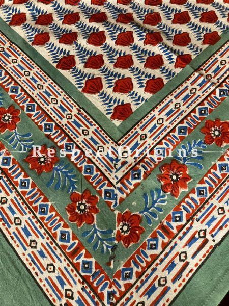 Le Provence Collection! Deep Red, Blue on White Block-printed Floral Cotton Tablecloth for Al Fresco or Indoor Dining.; RespectOrigins.com