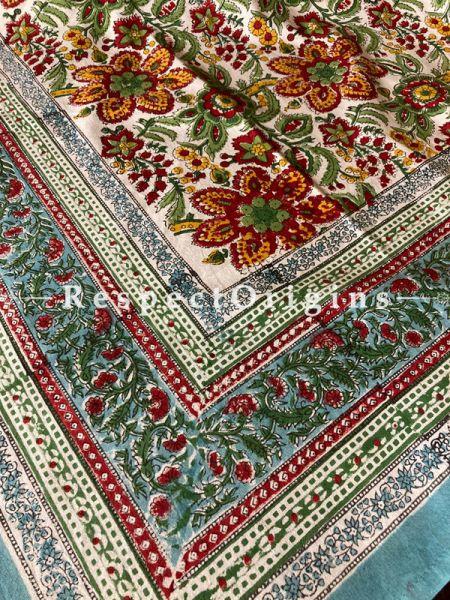 Le Provence Collection! Floribunda. Block-printed Floral Cotton Tablecloth for Al Fresco or Indoor Dining. Ideal Gift.; RespectOrigins.com
