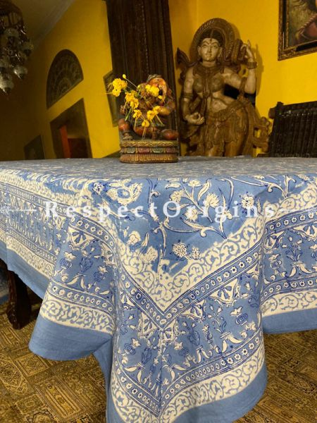 Le Provence Collection! French Blues in Hand Block-printed Floral Cotton Tablecloth for Al Fresco or Indoor Dining.'; RespectOrigins.com