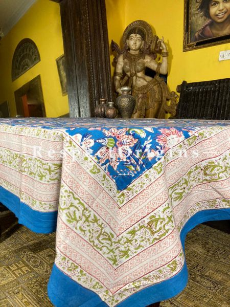 Le Provence Collection! Pink Blooms in Aqua Hand Block-printed Floral Cotton Tablecloth for Al Fresco or Indoor Dining.; RespectOrigins.com