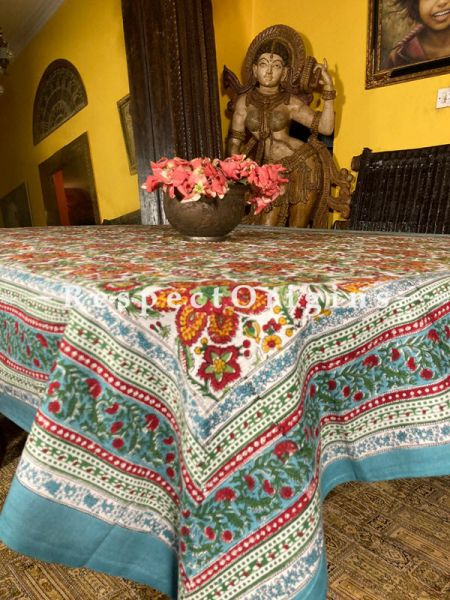 Le Provence Collection! Brilliant Blooms in Hand Block-printed Floral Cotton Tablecloth for Al Fresco or Indoor Dining.'; RespectOrigins.com