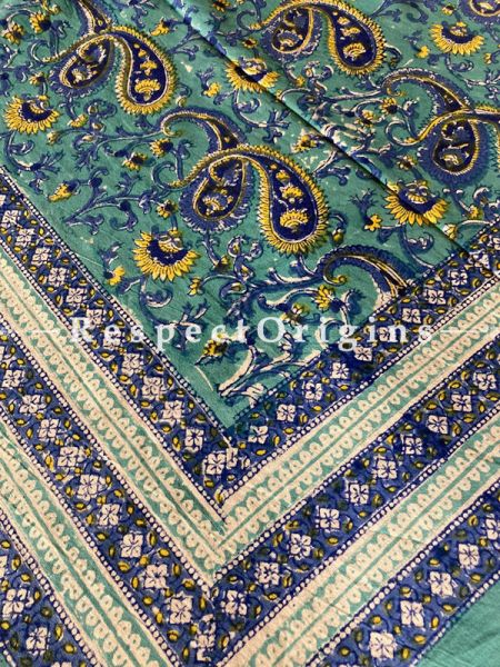 Le Provence Collection! Classic Yellows n Blue in Hand Block-printed Floral Cotton Tablecloth for Al Fresco or Indoor Dining.'; RespectOrigins.com
