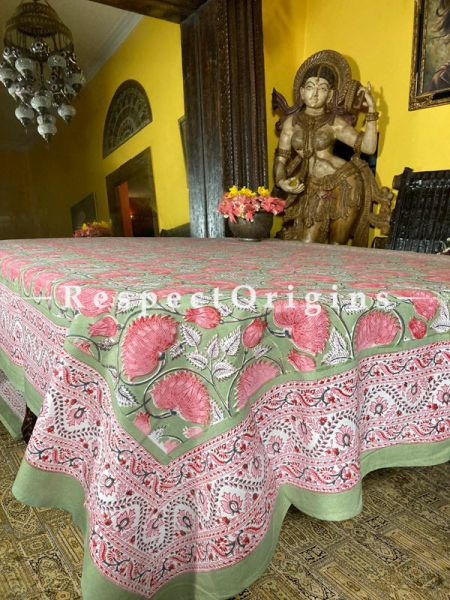 Le Provence Collection! Block-prints in Florals on Cotton Tablecloth for Al Fresco or Indoor Dining. Large Blossoms.; RespectOrigins.com