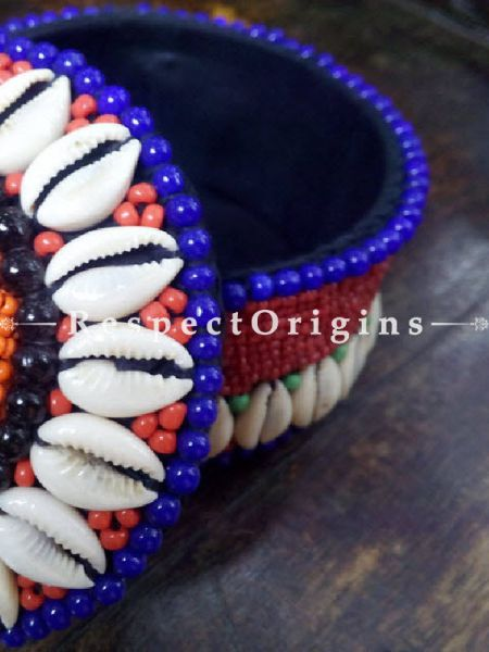 Blue, orange and red Jewellery Box With Beads and Sea Shells; Ladakhi Beaded Container; RespectOrigins.com