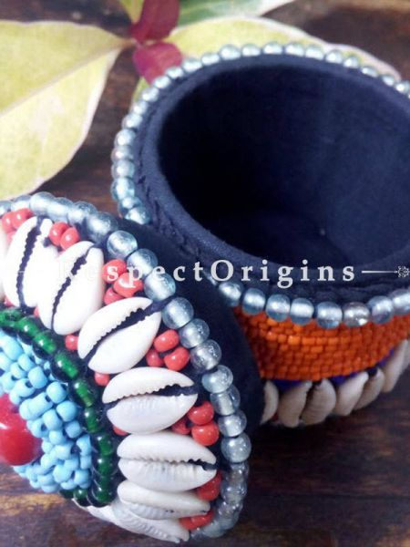 Blue, red and orange Jewellery Box With Beads and Sea Shells; Ladakhi Beaded Container; RespectOrigins.com