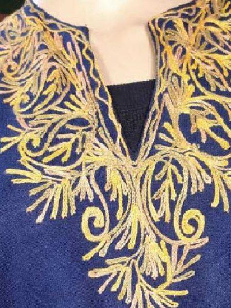 Blue Aari Embroidered Poncho; RespectOrigins.com