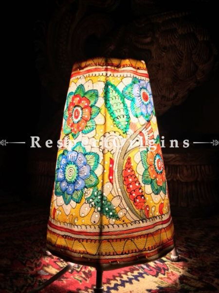 Buy Flowers Hand Painted Cylindrical Leather Lampshade; 8 in At RespectOrigins.com