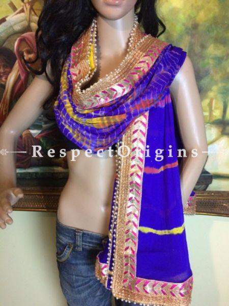 Buy Blue, Pink n Gold Bandhani Georgette Stole at RespectOrigins.com