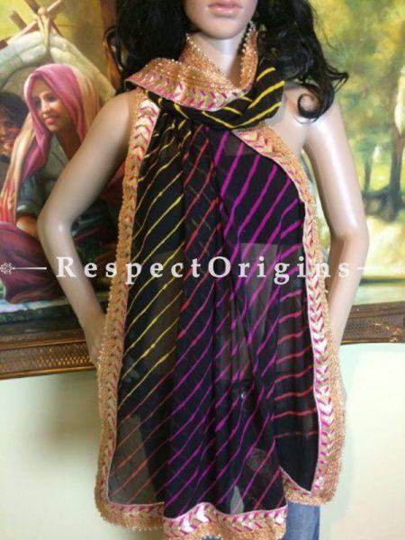 Buy Navy, Pink n Gold Bandhani Georgette Stole at RespectOrigins.com