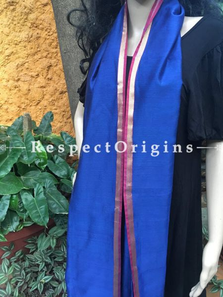 Royal Blue Handloom Maheshwari Cotton silk stole with golden Jute work and red border; RespectOrigins.com