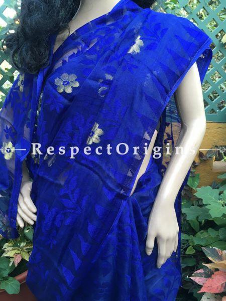 Blue; Handloomed; Dhakai Mul Cotton Saree, RespectOrigins.com