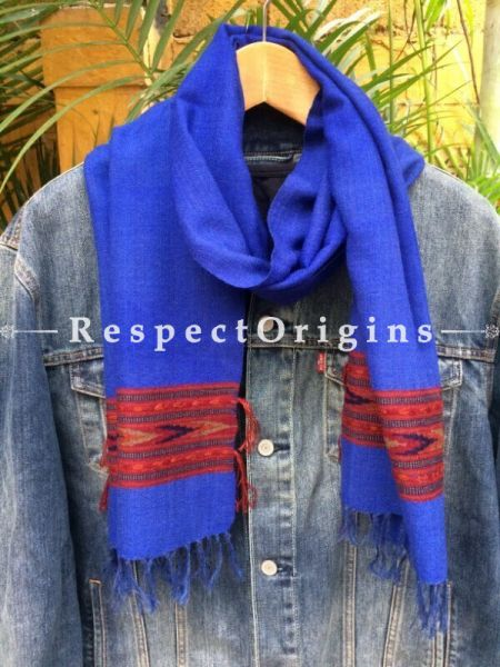 Men's Kullu Muffler; Blue Handloom Pure Wool