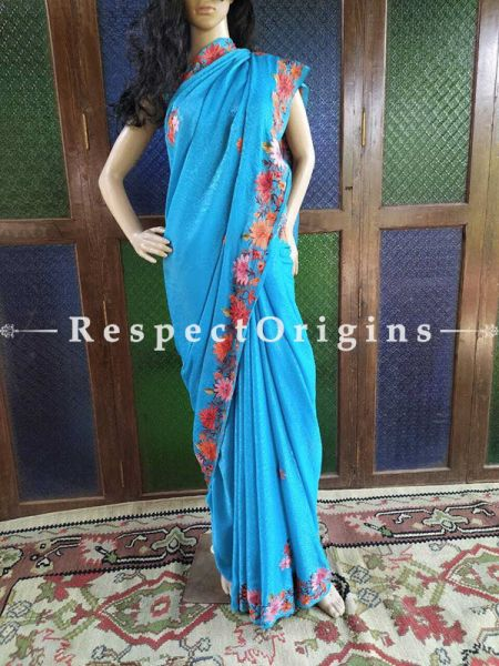 Jacquard Silk  Aari work Embroidered Blue Saree  with Maple leaf and Floral  motifs; RespectOrigins.com