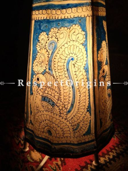 Buy Blue Painted Cylindrical Leather Lampshade; Small; 8 in At RespectOrigins.com