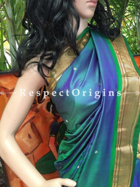 Buy Paithani Blue Silk Saree at RespectOrigins.com