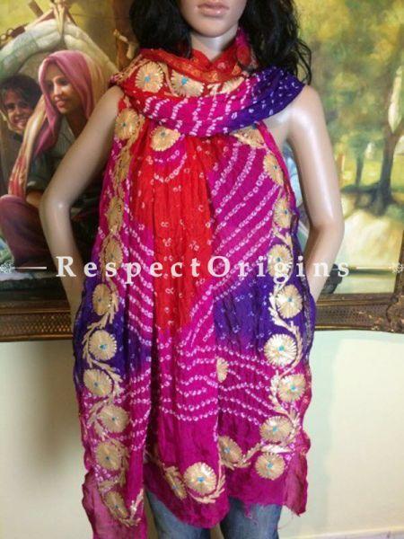 Buy Red, Pink n Purple Bandhani Georgette Stole at RespectOrigins.com