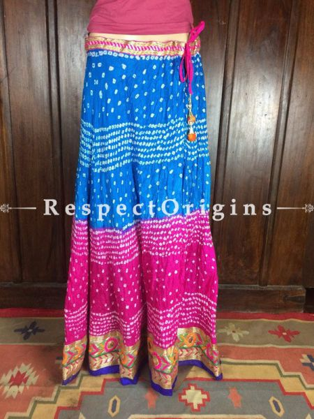 Buy Blue-Pink Handcrafted Jaipur Silk Bandhani Long Skirt; Cotton at RespectOrigins.com