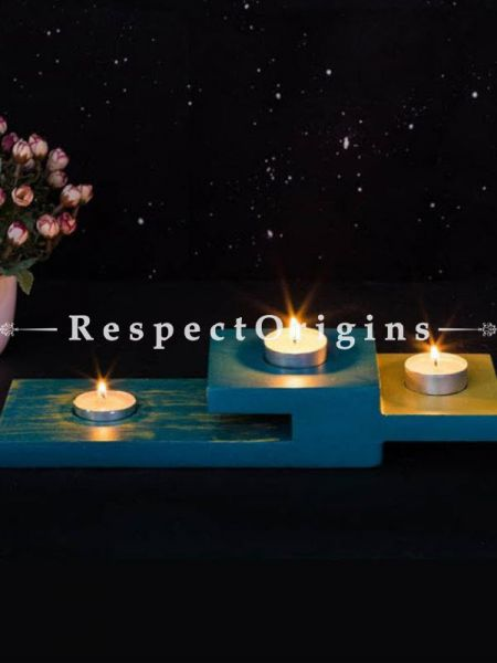 Buy Blue Plywood Candle Holder At RespectOrigins.com