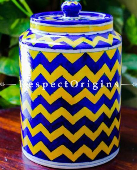 Buy Ceramic Pottery Spice Jar Canister in Blue & Yellow Zig Zag Pattern; Handcrafted Jaipuri Blue Pottery; Chemical Free At RespectOrigins.com