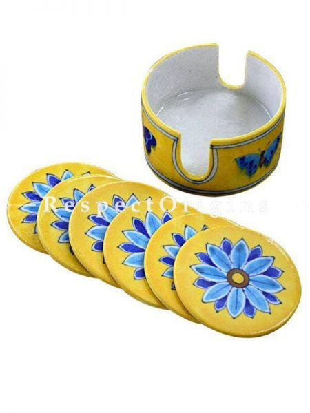 Buy Round Ceramic Coasters With Holder in Yellow Base With Blue Floral Design; Set of 6 Handcrafted Jaipuri Blue Pottery; Dia - 4 in At RespectOrigins.com