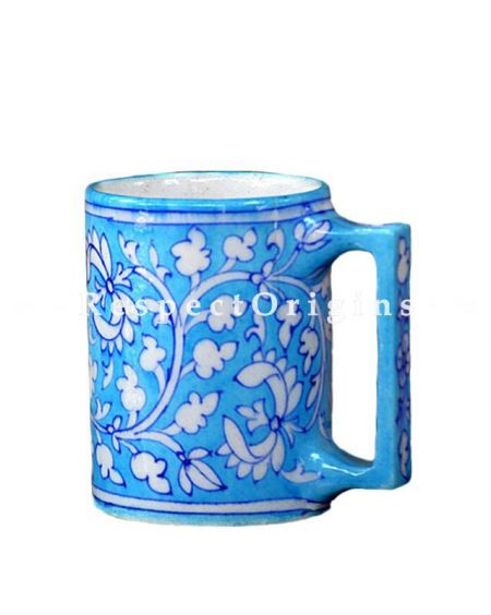 Buy Ceramic Coffee Mug Set of 4; Blue and White Floral Design; Handcrafted Jaipuri Blue Pottery; Chemical Free At RespectOrigins.com